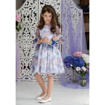 """Платье нарядное белого цвета с прозрачными рукавами """"Сирения"""""""