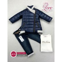 """Комплект для девочек синего цвета """"Звездочка"""" (куртка, джинсы и джемпер)"""