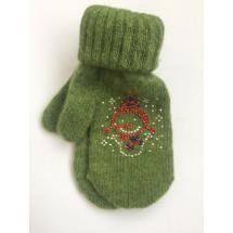 Варежки зимние зеленого цвета со снеговиком