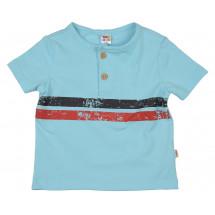 Футболка голубая в полоску для малышей на двух пуговках