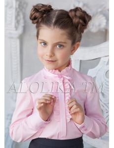 """Блузка розового цвета с воротником стойкой """"Кайли"""""""