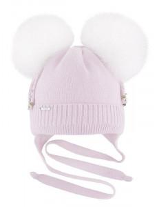 """Шапка для девочки зимняя нежно-розовая с двумя белыми помпонами """"Варюша"""""""