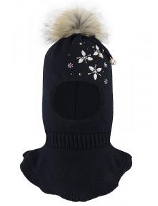 """Шапка-шлем для девочек темно-синего цвета с бусинками и стразами """"Джоанна"""""""
